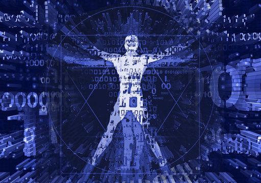 Vitruvian man in explosion of computer data. Futuristic Illustration of vitruvian man with a binary codes symbolized digital age.