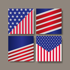 diferents styles of united states flags vector illustration design