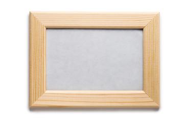 Empty wooden horizontal frame, isolated on white background