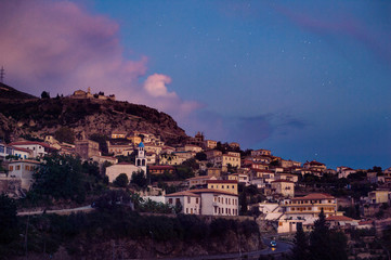 dhermi traditional albanian village view in southern albania