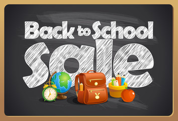 Back to school sale blackboard chalk design