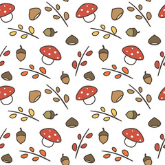 cute lovely autumn seamless vector pattern background illustration with branches, leaves, mushroom, acorns, chestnuts