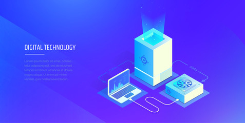 Digital technologies. Testing and analysis of digital system data. Transfer and storage of files. Modern vector illustration isometric style.