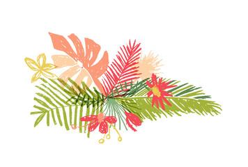 Tropical hand drawn flower leaf composition, vector illustration isolated on white background. Botanical doodle style, tropic paradise, aloha summer