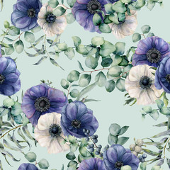 Watercolor seamless pattern with eucalyptus leaves, blue and white anemone. Hand painted flowers, green brunch on blue pastel background. Floral botanical illustration for design, fabric, background.