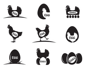 collection of chicken and eggs icons isolated on white background