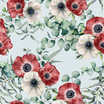 Watercolor seamless pattern with eucalyptus leaves and anemone. Hand painted red and white anemones, green brunch on blue pastel background. Floral botanical illustration for design or background.