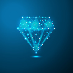 Diamond low poly in the form of a starry sky or space, consisting of points, lines, and shapes in the form of planets, stars and the universe. business wireframe concept