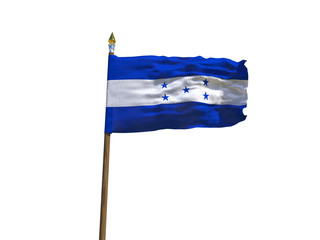 Honduras flag Isolated Silk waving flag of Republic of Honduras made transparent fabric with wooden flagpole golden spear on white background isolate real photo Flags world countries 3d illustration