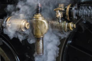 detail of steam locomotive
