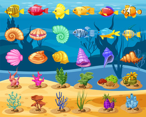 Cartoon Vector game icons with seashell, Colorful coral reef tropical fish, pearl, colorful corals and algae, underwater background, for match three game, apps on white background. Isolated elements.