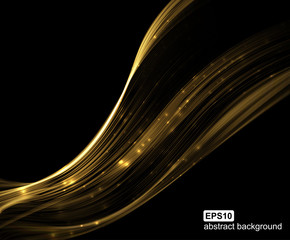 Abstract shiny gold wave. Futuristic background. Vector illustration.