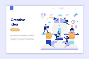 Landing page template of creative idea modern flat design concept. Learning and people concept. Conceptual flat vector illustration for web page, website and mobile website.