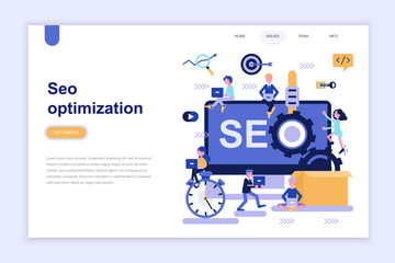 Landing page template of seo optimization modern flat design concept. Learning and people concept. Conceptual flat vector illustration for web page, website and mobile website.