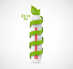 Thermometer icon. Ecological Problems. Global warming. Vector illustration.