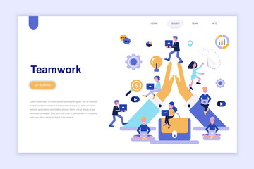 Landing page template of teamwork modern flat design concept. Learning and people concept. Conceptual flat vector illustration for web page, website and mobile website.