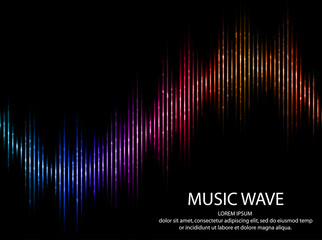Abstract light futuristic background. Sound waves. Music Digital Equalizer. Vector illustration.