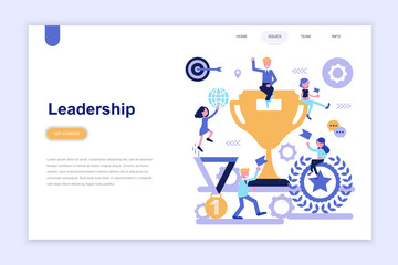Landing page template of business leadership modern flat design concept. Learning and people concept. Conceptual flat vector illustration for web page, website and mobile website.