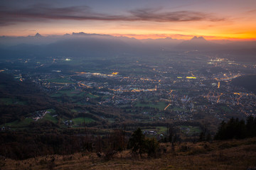 Stunning sunrise above Salzburg
