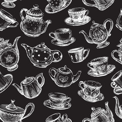 Seamless background of drawn teapots and cups