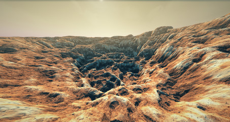 Printed roller blinds Canyon Extremely detailed and realistic high resolution 3D illustration of a Mars like landscape