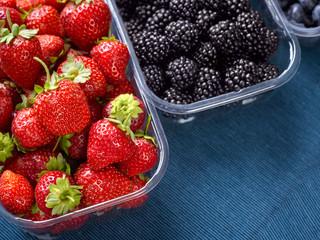 Closeup of fresh berries, blackberries, strawberries and blueberries