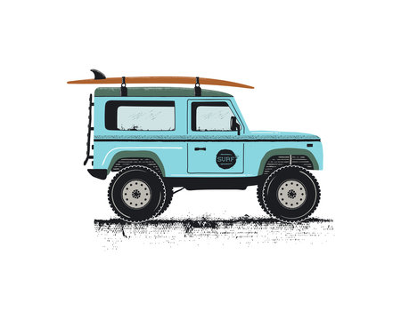Vintage hand drawn surf car. Retro transportation with surfboard. Old style sufing automobile. Perfect for T-Shirt, travel mugs and otjer outdoor adventure apparel, clothing prints. Stock vector