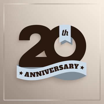 Twenty years anniversary logo with blue ribbon, 20th years celebration isolated on beige background. Vector.