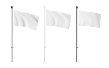 White and metallic wawing flag mockup set. Realistic vector template. Fototapete
