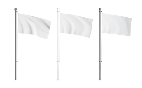White and metallic wawing flag mockup set. Realistic vector template.