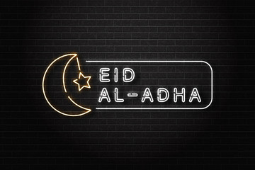 Vector realistic isolated neon sign of Eid Al-Adha logo for decoration and covering on the wall background.