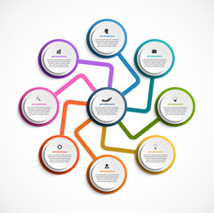 Infographic design organization chart template for business presentations, information banner, timeline or web design.