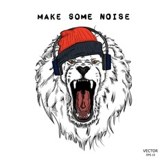 A hipster lion in headphones and  in cap on a background of blots. Vector illustration