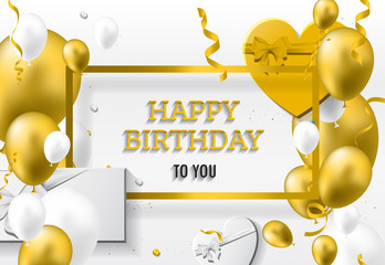 Happy Birthday Greeting Card with golden white balloons and happy birthday.