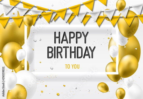 Happy Birthday Greeting Card With Golden White Balloons And