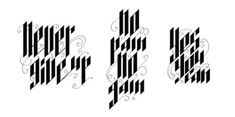 Elegant calligraphic compositions - motivational quotes.