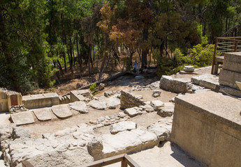 Greece, Crete, Heraklion - July 18, 2018: Knossos ruins, ceremonial and political centre of the tsar Minos. Archaeological site connected with legends of Daedalus, Minotaur, Ariadne and Icarus