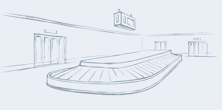 Point of checking luggage in airport. Vector drawing