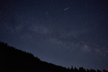 The star fell on a silent night. Beautiful starry sky in the mountains. The milky way in the clear, starry sky.