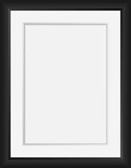 Vector realistic Black photo frame  mock up. 3d vertical empty wall picture frame or passepartout mockup illustration for your design. Poster template for your photo or diploma