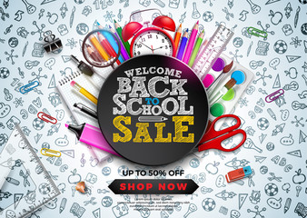 Back to School Sale Design with Colorful Pencil, Alarm Clock and other School items on Hand Drawn Doodles background. Vector School Illustration with Typography for Coupon, Voucher, Banner, Flyer