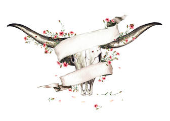 Poster Waterverf Illustraties Animal Skull with Flowers. Watercolor Illustration.