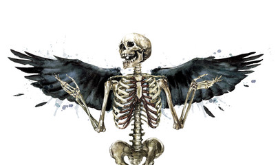 Human Skeleton decorated with wings. Watercolor Illustration.