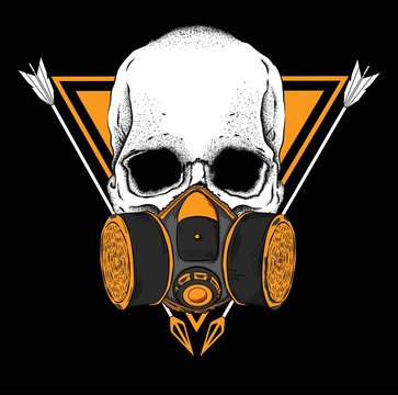 Portrait of a skull in a respirator, in the background of a triangle.Can be used for printing on T-shirts, flyers, etc. Vector illustration.