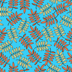 Autumn Seamless Pattern AUTUMN LEAF Color Vector Illustration for Birthday and Party, Wall Decorations, Scrapbooking, Baby Book, Photo Albums and Card Print