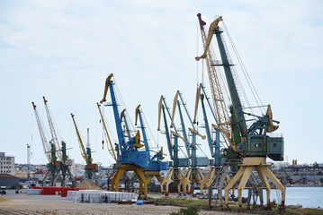 Hoisting cranes in the industrial zone of the port.