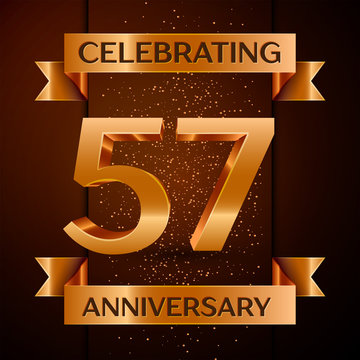 5798532 Realistic Fifty seven Years Anniversary Celebration design banner. Golden number, confetti and ribbon on brown background. Colorful Vector template elements for your birthday party