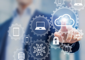 Cloud computing information technology concept, data processing and storage platform connected to internet network, specialist engineering system Wall mural