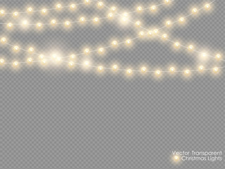 Vector christmas lights isolated on transparent background. Xmas glowing garland. Golden semitransparent new year lights decoration.
