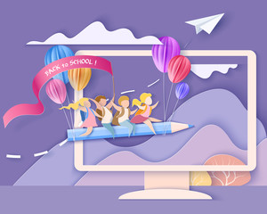 Back to school 1 september card. Monitor screen with mountains, trees, waterfall and children flying on pencil. Paper cut style. Vector illustration